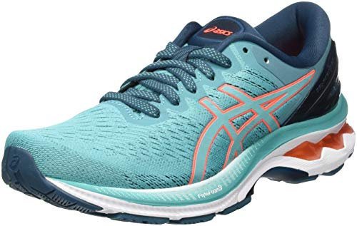 ASICS Damen Gel-Kayano 27 Running Shoe, Techno Cyan/Sunrise Red, 40 EU