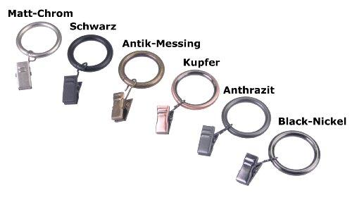 DecoProfi Gardinenringe mit Klammer, Ø 25 mm, für Gardinenstangen Ø 16 mm, SCHWARZ, Set 10 Stück