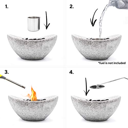 Vizayo Table Top Fire Pit Bowl for Outdoor - 11 x 5.3 Inch Grey Ventless Bio Ethanol Tabletop Fireplace for Patio