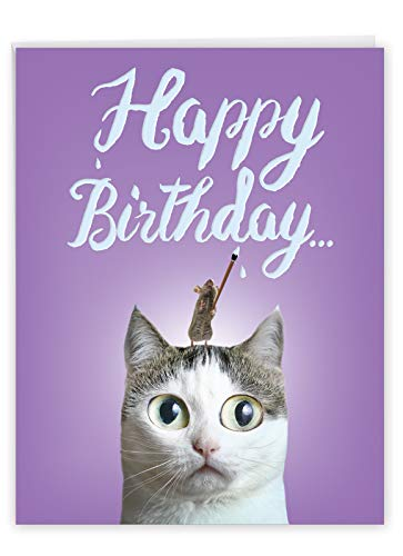 Cat Sent Greetings - Adorable Funny Happy Birthday Card with Envelope (Large 8.5 x 11 Inch) - Cute Pet Cat and Mouse Game, Animal Birthday Card for Kids, Adults - Big Bday Stationery J6112GBDG