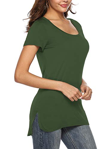 Beluring Top Damen Sommer Kurzarm Oberteile Basic T-Shirt Elegant Blusen, Armeegrün L