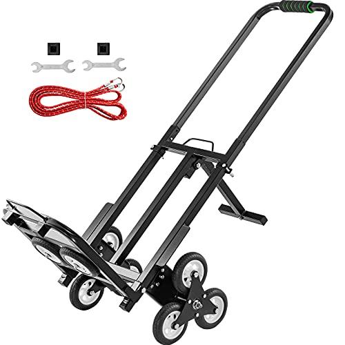 Moh Carrito para EscalerasPlegable de 150 kg, Carretilla de Mano Portátil para Escaleracon Mango Ajustable de 1145-730 mm de Acero