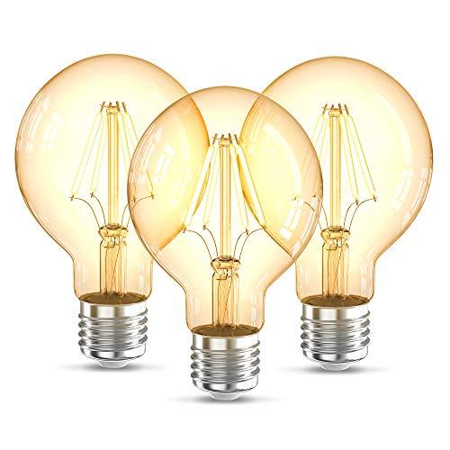 B.K.Licht 3 Lampadine LED vintage Edison, attacco grosso E27, luce calda 2200K, 4W, 320Lm, forma globo G80, Set di 3, lampadina con filamento, lampadina retrò con vetro ambrato, lampadina d'epoca