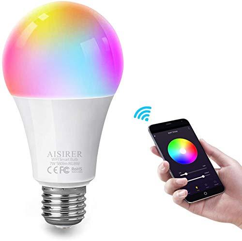 AISIRER Smart Lampe WLAN Glühbirnen Wifi LED Weiches Weiß 2700K+RGB Birne Kompatibel mit Amazon Alexa Echo,Echo Dot Google Home Kein Hub Erforderlich Dimmbares Mehreren Farben E27