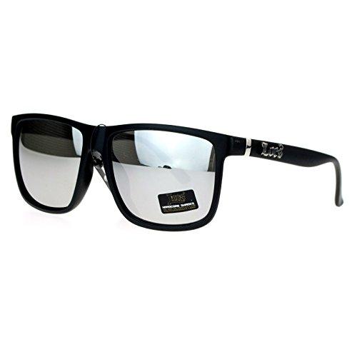 Locs Mirror Lens Gangster Oversized Rectangular horned Sunglasses Silver
