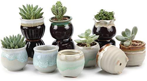 flower pot Macetero colgante de cerámica de 6,5 cm, base negra y blanca, juego de serie para plantas...