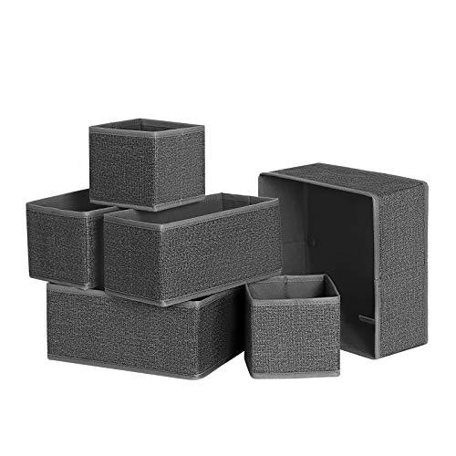 SONGMICS Aufbewahrungsbox für Schublade, 6er Set, Unterwäsche-Organizer, Schubladen-Organizer, Faltbare Stoffbox für Socken, Unterwäsche, BHS, Krawatten und Schals, rauchgrau RYDZ06G