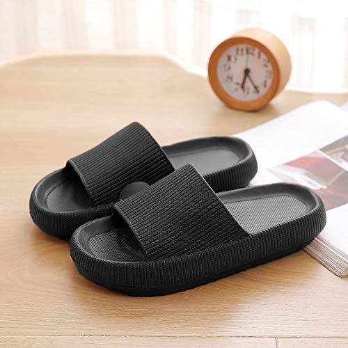 Ajcoflt Chinelos de sola grossa de banheiro feminino verão antiderrapante casal sandálias e chinelos de borracha macia EVA chinelos masculinos pretos 42/43