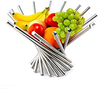 Foldable Rotation Fruit Basket, Decorative Fruit Bowl with Unique Design and Anti Rust Stainless Steel, 15