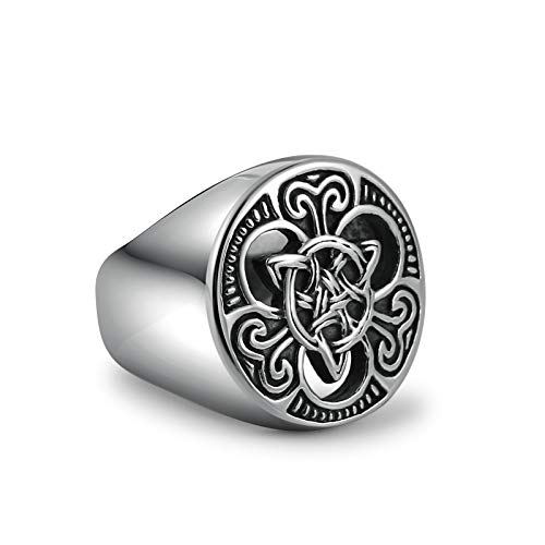 HZMAN Mens Celtic Knot Signet Rings Round Vintage Stainless Steel Ring