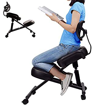 Ergonomic Kneeling Chair with Back Support Adjustable Stool for Better Posture in Home and Office Relieving Bad Back Neck Pain & Spine Tension - Thick Comfortable Cushions Black