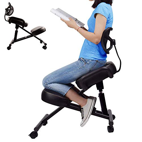 Ergonomic Kneeling Chair with Back Support. Adjustable Stool for...