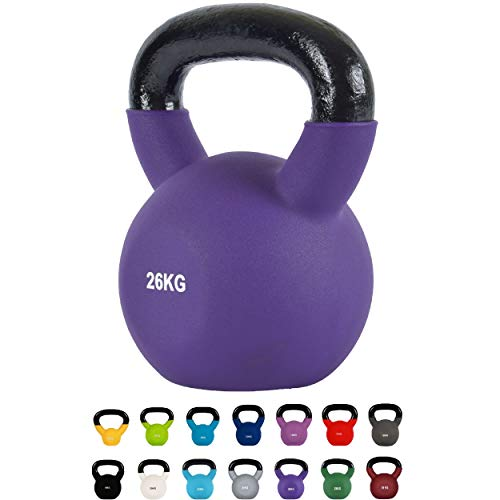 Kettlebell Professionale 2 - 30 kg | Ghisa Revestimento in Neoprene | incl. Workout PDF | diversi colori (Kettlebell Professionale 26 kg | Ghisa Revestimento in Neoprene | incl. Workout PDF | Porpora)