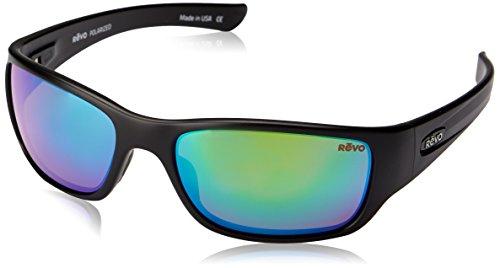 Revo Unisex RE 4059 Descend N Rectangular Polarized UV Protection Sunglasses, Black Frame with Evergreen Lens, 64-13-139