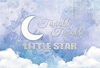新しいトゥインクルトゥインクルリトルスターベビーシャワーの背景7x5ftシルバー輝く星とホワイトムーン写真の背景誕生日ベビーシャワーパーティーの装飾フォトブース小道具デジタル壁紙