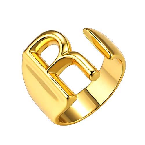 GoldChic Jewerly Dorado Anillo Abierto 26 Inicial Letras A-Z con baño de Oro - Servicio Personalizar Insignia Grabable - Gratis Caja de Regalo