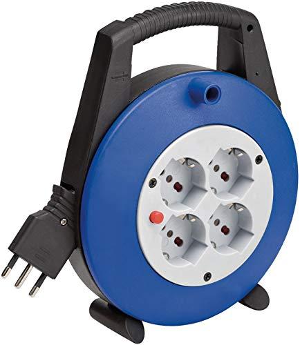 Brennenstuhl 1092235 Vario Line kabelhaspel, 5 m, met 4 stopcontacten volgens Italiaanse standaard en Schuko, 10/16 A, zwart, blauw, lichtgrijs, blauw