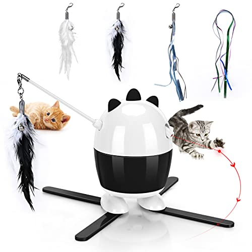 Enoctu CatToysInteractive, Cat Laser Toy & Cat Feather Toys 2 in 1, Recharge CatExercise...