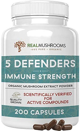 Real Mushrooms 5 Defenders Mushroom Supplements for Immune Support 200ct Promote Better Overall product image