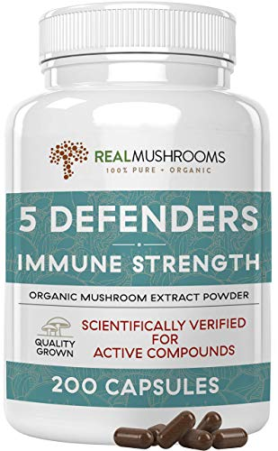 5 Defenders Mushroom Extract Powder Capsules for Immune Support & Digestion (200ct) Chaga, Reishi, Shiitake, Maitake & Turkey Tail Supplement for Stress & Better Mood, Verified Levels of Beta-Glucans