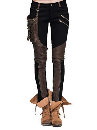 Devil Fashion Steampunk Pantalones de mujer con un bolsillo de cuero Gothic Pencil Pants Vintage Stitching Leggings (XL, Negro y marrón)