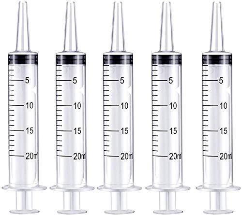 5 Stück Kunststoff Spritze 20ml Spritzen Als Dosierspritze Saugpritze Ölspritze Einweg-Syringe Plastikspritze Einmalspritzen für Agrar Garten Hobby und Heimwerk Hydroponics Nährstoff (20ml)