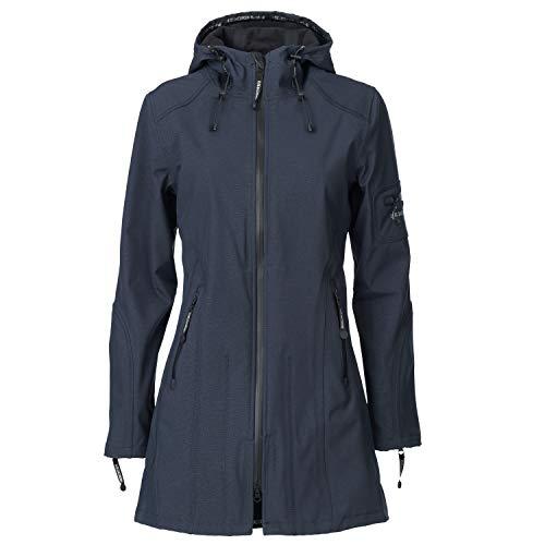 Ilse Jacobsen Damen Parka mit Kapuze | Outdoor Regenjacke wasserdicht, Winddicht, atmungsaktiv | Softshell 100% Polyester | RAIN07 Blau 36