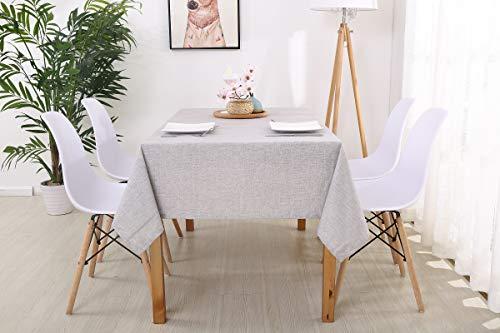 trounistro Tischdecke, Wasserabweisend Tischdecke Tischtuch Leinendecke Leinenoptik Tischwäsche Pflegeleicht abwaschbar Farbe & Größe Wählbar Fur Garten Tischdekoration (Silber, 130 * 200cm)