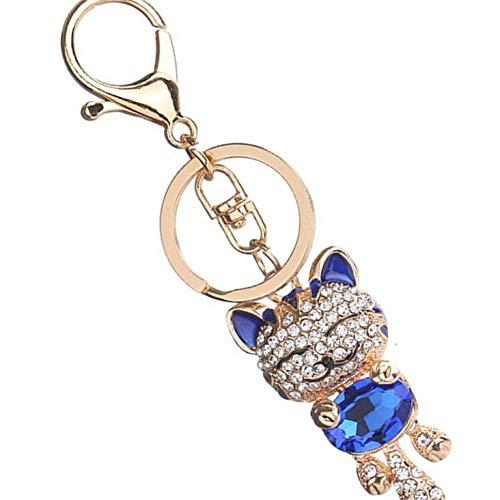 Bobury Beau Chat Strass Porte-clés Porte-clefs Filles Sac Pendentif en Cristal Bijoux Cadeaux Porte-Clés