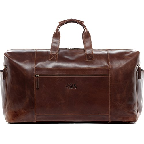SID & VAIN Travel Bag Holdall Bristol XXL Duffel Bag Real Leather 65 cm Weekender Duffle Leather Bag Women Men Brown