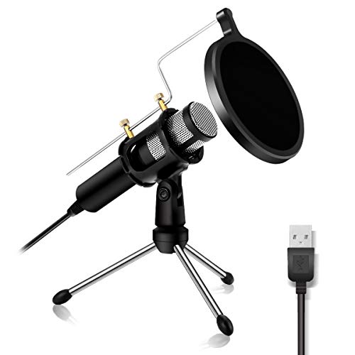 USB Microphone NASUM Computer Microphone, Gaming Microphone for PC, Plug and Play Home Studio Microphone, Condenser Microphone for YouTube,Facebook,Skype,Google Search,Podcasting, Games
