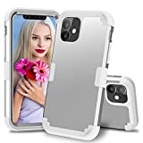 ZHOGTNEG iPhone 11 Case,3-in-1 Hybrid Design Soft Silicone and Hard PC Heavy Duty Protective Case with Anti-Scratch Shockproof Cover Case for iPhone 11 6.1 Inch 2019 Release (Light Grey/Light Grey)