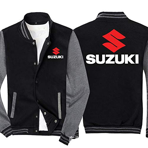 Männer Pullover Jacke - Suzuki Printed Sweatshirt Baseball-Trikot Langarm-Zip Trainingsjacken - Teen Gift Black Gray-XL