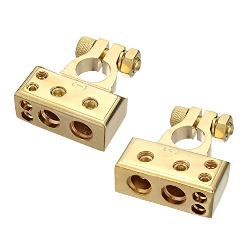 HO2NLE 1 Paar 4/8 Awg Batterieklemme Autobatterie Klemmen Polklemmen Positiv und Negativ Battery Terminal mit Abdeckung Gold