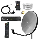 Digital Sat Anlage 60 cm Spiegel inkl. ARLI AH2 HD Receiver + Single LNB + 10m Koax Kabel + 2 F -...