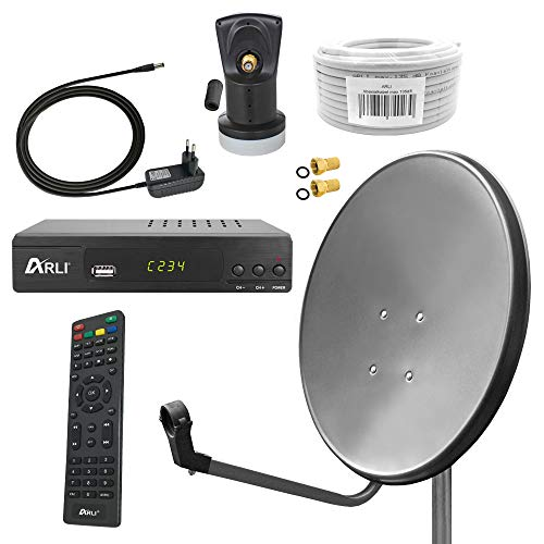 Digital Sat Anlage 80 cm Spiegel inkl. ARLI AH2 Full HD Receiver + Single LNB + 10 m Koax Kabel + 2 F - Stecker vergoldet 1 Teilnehmer Set Antenne grau anthrazit satellitenschüssel digital komplett