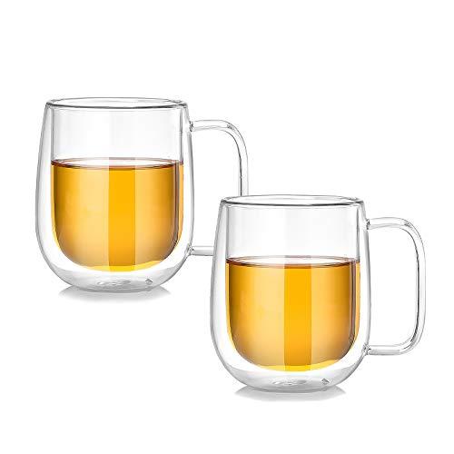 CNNIK 2Pcs Taza de Vidrio Doble Pared, Tazas de Café Resistentes al Calor, Taza de Leche Capuchino Espresso Jugo Cerveza, Regalo de Cumpleaños de Navidad para Amiga Mujer Niña Hombres, 250ml
