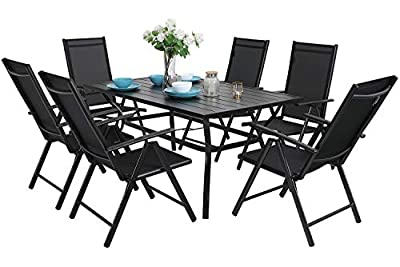 "MFSTUDIO 7PCS Outdoor Patio Dinning Set, 6 Folding Reclining Chairs, 1 Rectangular Table with 1.57"" Umbrella Hole, Lawn Backyard Garden Furniture Sets, Black"
