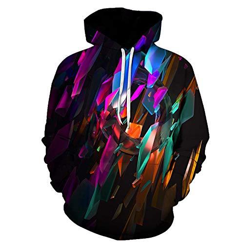 Blue and White Reflections Suéter con Capucha prismático de Diamante de Color suéter de impresión Digital 3D Chaqueta Deportiva Casual-Color_XL