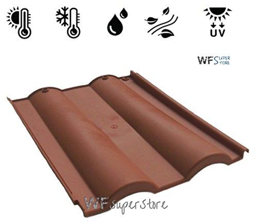 Tegola Doppia Romana in plastica color cotto - tegole tetto coppo terracotta (Comprese viti di fissaggio)