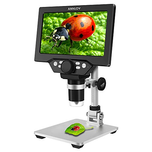 7 inch LCD Digital Microscope ANNLOV 1-1200X USB Maginfication Handheld Electronic Coin Microscope Video Camera with 8 Adjustable LED Lights for Adults Coin Inspection Kids Outside Use …
