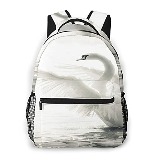 CVSANALA Multifuncional Casual Mochila,Agraciado cisne en un lago en blanco y negro,Paquete de Hombro Doble Bolsa de Deporte de Viaje Computadoras Portátiles