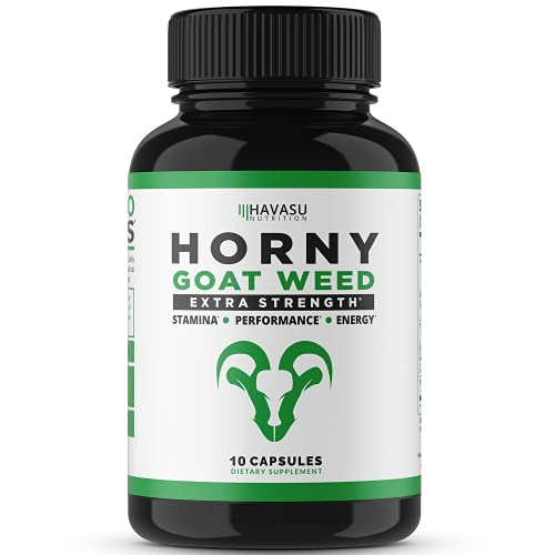 Extra Strength Horny Goat Weed Extract with Muira Puama, Maca Root, L Arginine, Tribulus - for Men & Women - All Natural Energy Boost (10 Count)