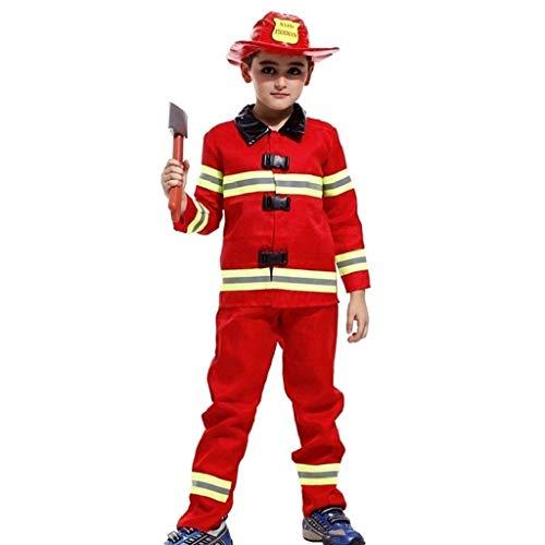 Costume Sam Il Pompiere Bambino Carnevale Vestito Vigile Del Fuoco Colore Rosso (Taglia M) 4-6 Anni Travestimento Cosplay Ottimo Come Regalo Per Natale O Compleanno