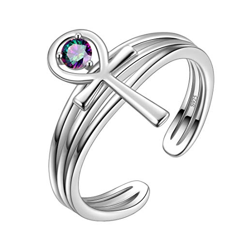 Aurora Tears Ankh Cross Adjustable Rings 925 Sterling Sliver Cross Open Ring with Mystic Rainbow Topaz Dating Gifts for Men and Women DR0096T