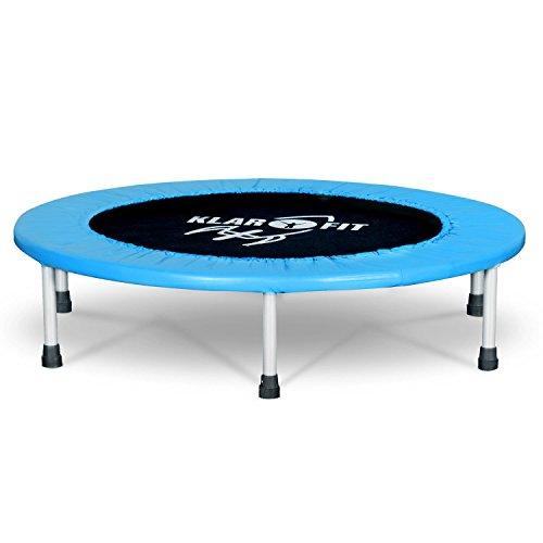 Klarfit Rocketbaby Cama elástica Infantil - Flexible, Diámetro 96 cm, 100 kg máximo, Lona Resistente, Cubierta Acolchada, Uso Interior y Exterior, Azul