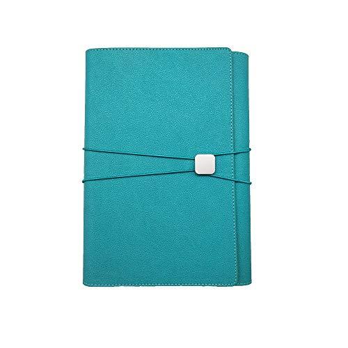 MOBRAVO - Organizer per conferenze, formato A5, in pelle, con blocco per appunti rimovibili, tasca per telefono blu