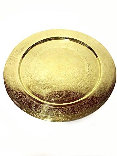 Orientalisches rundes Tablett aus Messing AFAF 40cm | Marokkanisches Teetablett in der Farbe Gold | Orient Serviertablett goldfarben | Orientalische Dekoration auf dem gedeckten Tisch