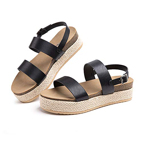 Sandalias Mujer Plataforma Alpargatas Cuña Verano Zapatos de Tacón Punta Abierta Comodas Vestir Correa Tobillo Hebilla Negro-2 39 EU