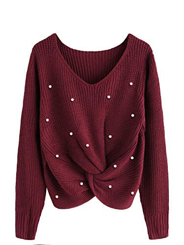 SOLY HUX Damen Perlen Stickereien Pullover,Damen Langarm Sweatshirt Pullover Tops Bluse T-Shirt Sweatshirt Oberteile Top Rot